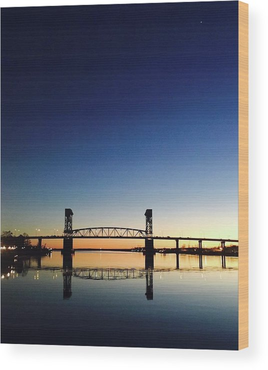 Cape Fear River at sunset with big blue sky - Wood Print