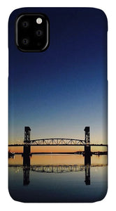 Cape Fear River at sunset with big blue sky - Phone Case
