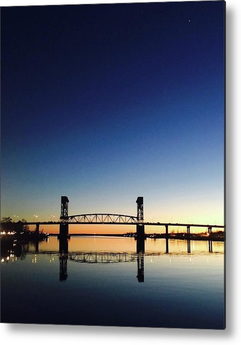 Cape Fear River at sunset with big blue sky - Metal Print