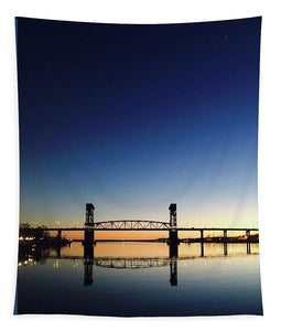 Cape Fear River at sunset with big blue sky - Tapestry