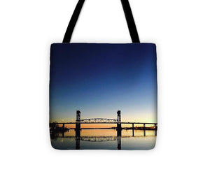 Cape Fear River at sunset with big blue sky - Tote Bag