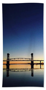 Cape Fear River at sunset with big blue sky - Beach Towel