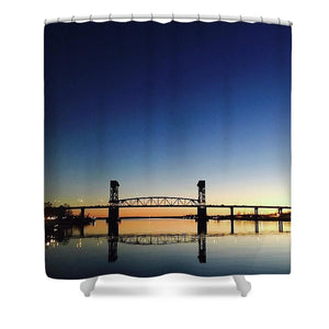 Cape Fear River at sunset with big blue sky - Shower Curtain