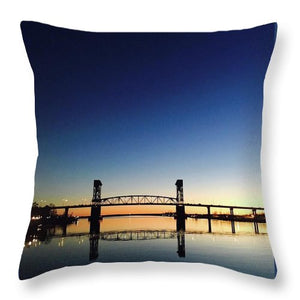 Cape Fear River at sunset with big blue sky - Throw Pillow