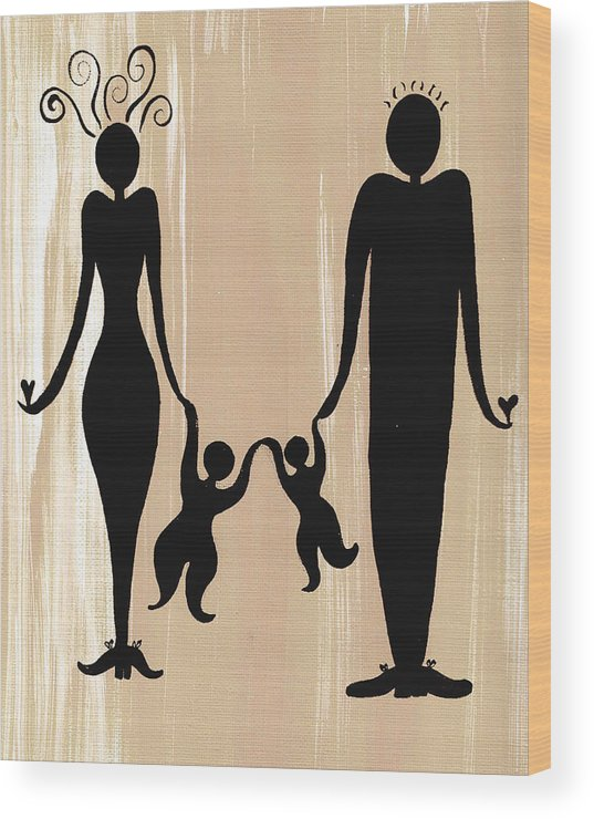 Happy Family Two - Wood Print
