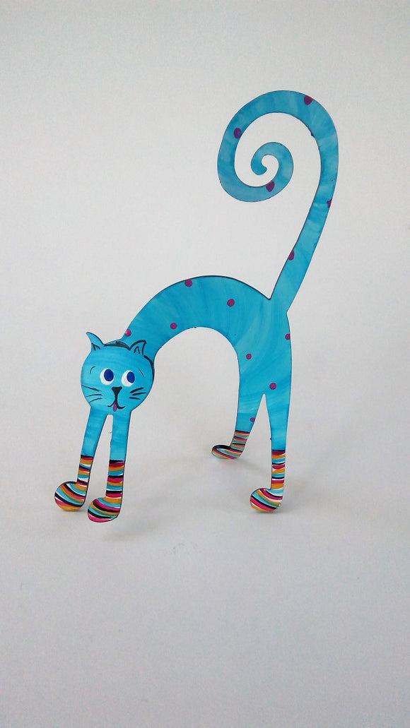 Cat in socks hand painted steel sculpture - SCAREDY CAT