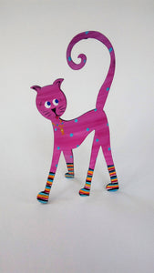 Cat in socks hand painted steel sculpture - STRUTTING CAT