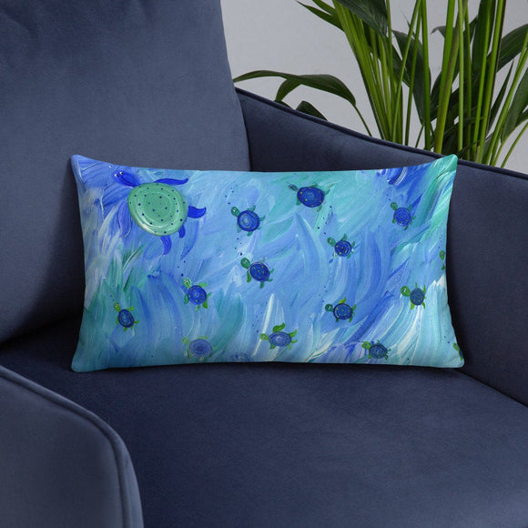 Swimming Sea Turtle Pillow for beach house nautical nursery cottage decor turquoise
