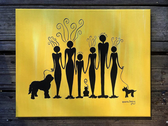 Custom family portrait silhouettes - original acrylic painting