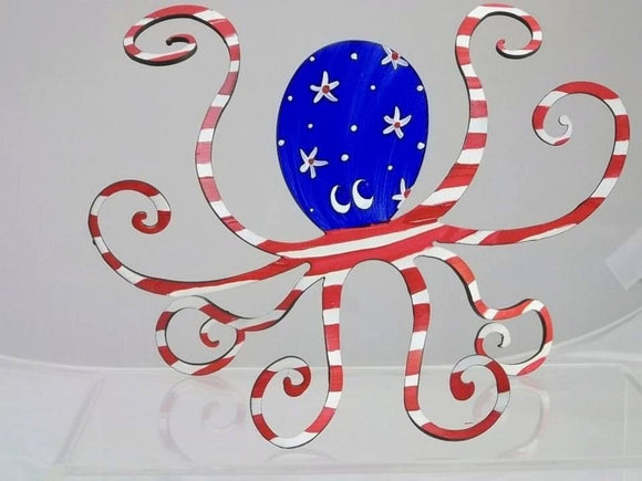Octopus Steel Sculpture- Patriotic Paint