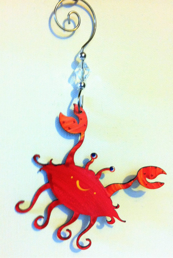Ornament - Crab - Hand Painted Steel