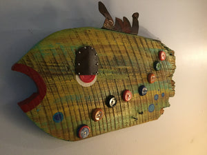 """Dude"" - upcycled folk art fish"