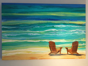 Turquoise sea painting by Robyn Joy Chapman