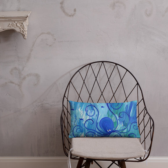 Octopus Throw Pillow swimming in blue ocean for beach cottage or nautical nursery