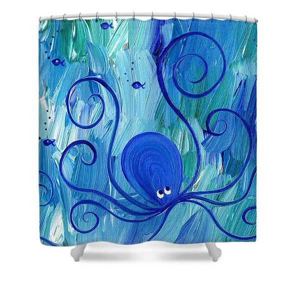 Octopus Swimming - Shower Curtain