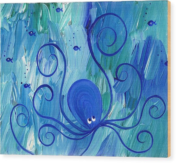 Octopus Swimming - Wood Print