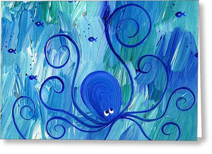 Octopus Swimming - Greeting Card