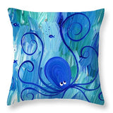 Octopus Swimming - Throw Pillow