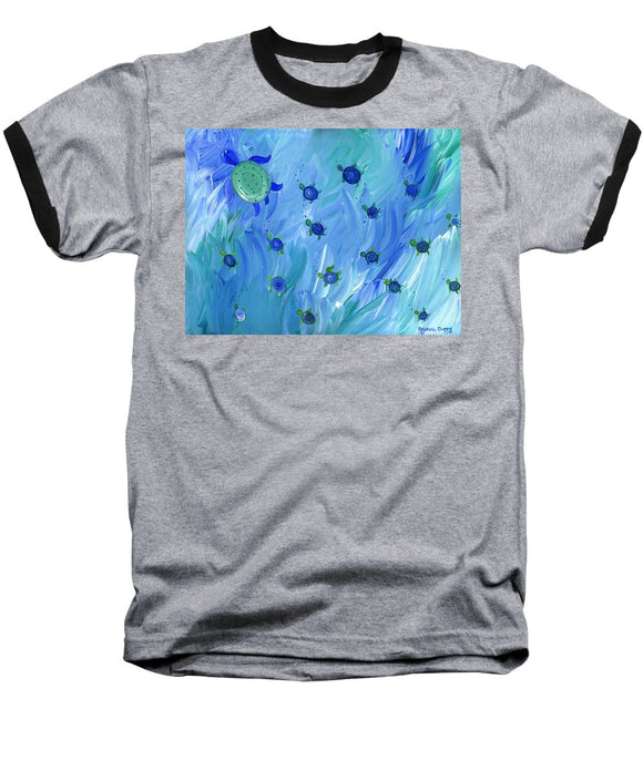 Swimming Turtles - Baseball T-Shirt