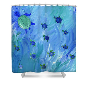 Swimming Turtles - Shower Curtain