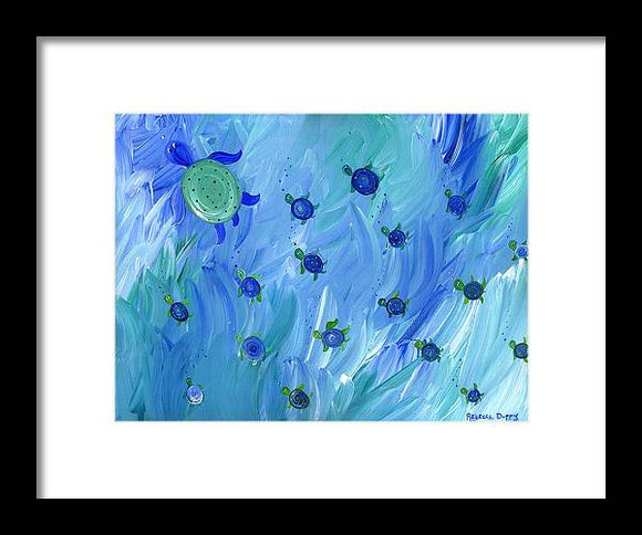 Swimming Turtles - Framed Print