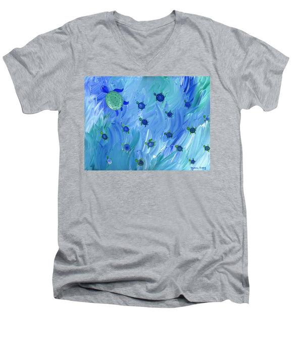 Swimming Turtles - Men's V-Neck T-Shirt