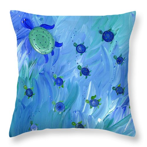 Swimming Turtles - Throw Pillow