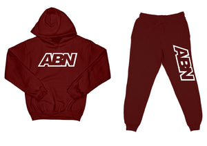 "ABN ""Top and Bottom"" Burgundy SweatSuit"