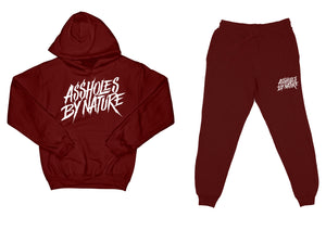 "Assholes By Nature ""Top and Bottom"" Burgundy SweatSuit"