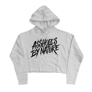 "Assholes By Nature  White Logo ""White"" Crop Top Hoodie"