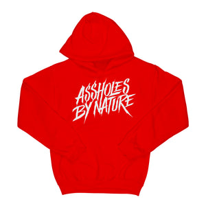 "Assholes By Nature ""White Logo"" Red Hoodie"