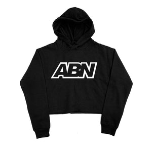 "ABN White Logo ""Black"" Crop Top Hoodie"