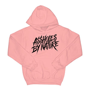 "Assholes By Nature ""Black Logo"" Pink Hoodie"