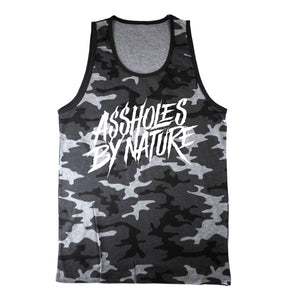 "Assholes By Nature White Logo ""Grey Camo"" Tank Top"