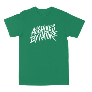 "Assholes By Nature ""White Logo"" Kelly Green Tee"