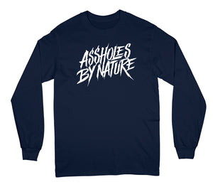 "Assholes By Nature White Logo ""Navy"" Long Sleeve"