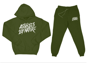 "Assholes By Nature ""Top and Bottom"" Olive Green SweatSuit"