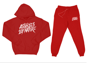 "Assholes By Nature ""Top and Bottom"" Red SweatSuit"