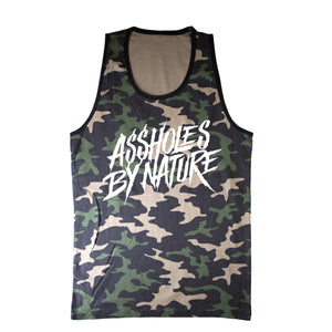"Assholes By Nature White Logo ""Regular Camo"" Tank Top"