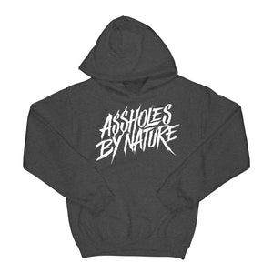 "Assholes By Nature ""White Logo"" Charcoal Hoodie"