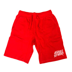 "Assholes By Nature ""White Bottom Logo"" Red Shorts"