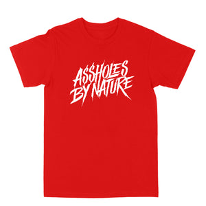 "Assholes By Nature ""White Logo"" Red Tee"