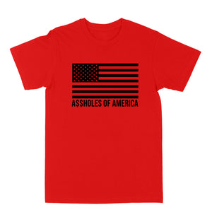 "Assholes Of America ""Black Logo"" Red Tee"