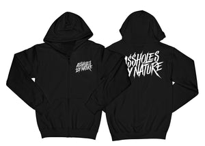 "Assholes By Nature White Logo ""Black"" Zip Up Hoodie"