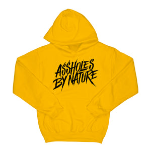 "Assholes By Nature ""Black Logo"" Yellow Hoodie"