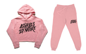 "Assholes By Nature ""Crop Top and Bottom"" Pink SweatSuit"