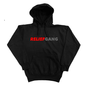 "Relief Gang ""Red Grey Logo"" Black Hoodie"