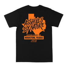 "Load image into Gallery viewer, Assholes By Nature Established ""Orange Logo"" Black Tee"