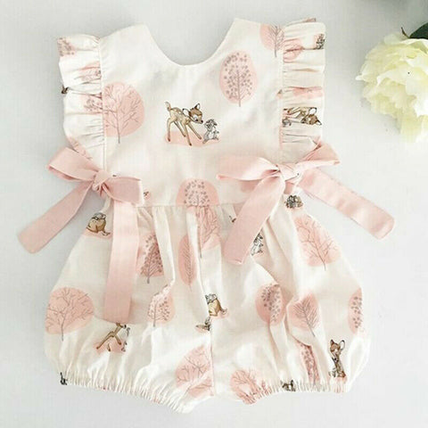 Bow-knot Clothes Casual Infant Baby Girls Deer Romper Long Jumpsuit Sunsuit Cute Kids Summer Cotton Outfits One Piece Costume - Eight Sparrows