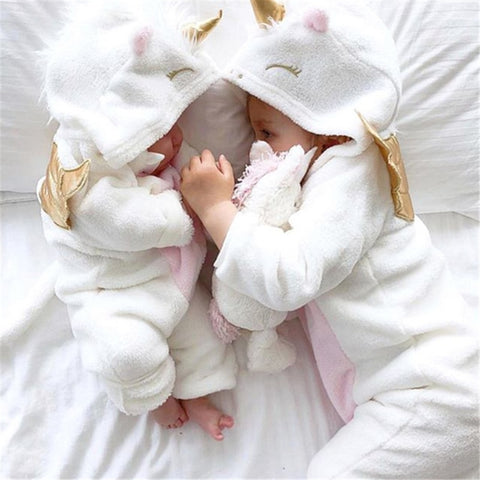2019 New Autumn Winter Newborn Baby Girl Clothes Cute 3D Unicorn Flannel Long Sleeve Zipper Warm Romper Jumpsuit Outfit Clothes - Eight Sparrows